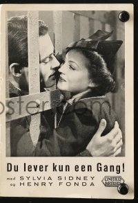 7a431 YOU ONLY LIVE ONCE Danish program 1937 Fritz Lang, Henry Fonda, Sylvia Sidney, different!
