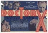 7a032 DOCTOR X herald 1932 Lionel Atwill, Fay Wray, serial killer eats his victims, ultra rare!