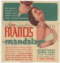 7a075 MANDALAY herald 1934 Kay Francis' beauty aflame in a world with only nine commandments!