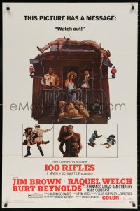 7b006 100 RIFLES 1sh 1969 Jim Brown, Raquel Welch & Burt Reynolds!