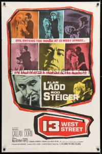 7b007 13 WEST STREET 1sh 1962 Alan Ladd, Rod Steiger, as shocking as a scream in the night!