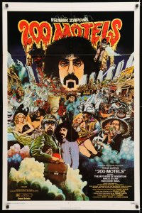 7b001 200 MOTELS 1sh 1971 directed by Frank Zappa, rock 'n' roll, wild McMacken artwork!