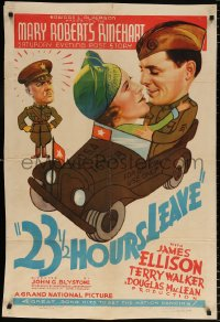 7b010 23 1/2 HOURS LEAVE kraftbacked 1sh 1937 James Ellison and walker in car, Douglas MacLean!