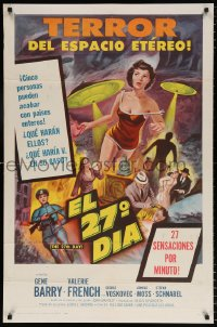 7b011 27th DAY Spanish/US 1sh 1957 mightiest shocker the screen ever had the guts to make!