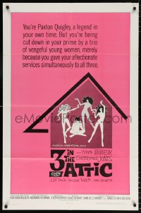 7b012 3 IN THE ATTIC 1sh 1968 Yvette Mimieux, great sexy artwork of naked girls dancing!