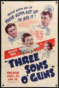 7b002 3 SONS O' GUNS 1sh 1941 war comedy, wacky artwork of Wayne Morris, Marjorie Rambeau!