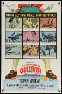 7b003 3 WORLDS OF GULLIVER 1sh 1960 Ray Harryhausen fantasy classic, art of giant Kerwin Mathews!