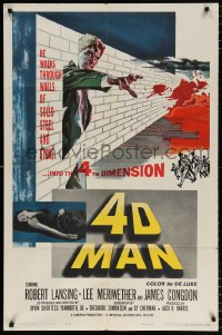 7b015 4D MAN 1sh 1959 Robert Lansing walks through walls of solid steel and stone!