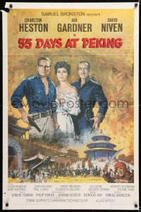 7b019 55 DAYS AT PEKING 1sh 1963 Terpning art of Charlton Heston, Ava Gardner & David Niven!