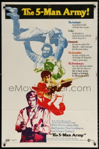 7b017 5-MAN ARMY style B 1sh 1970 Peter Graves, James Daly, Bud Spencer, written by Dario Argento!