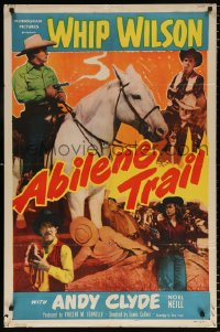 7b027 ABILENE TRAIL 1sh 1951 cowboy Whip Wilson on horseback, pretty Noel Neill, Andy Clyde