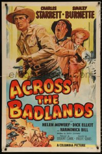 7b030 ACROSS THE BADLANDS 1sh 1950 cool artwork of cowboy Charles Starrett, Smiley Burnette!