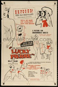 7b035 ADVENTURES OF LUCKY PIERRE 1sh 1961 Herschell Lewis, a picture for broadminded adults!