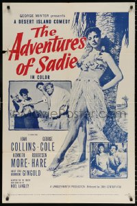 7b036 ADVENTURES OF SADIE 1sh 1955 full length sexy Joan Collins, Our Girl Friday!