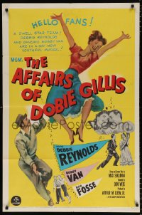 7b039 AFFAIRS OF DOBIE GILLIS 1sh 1953 Bobby Van, Bob Fosse, wacky art of Debbie Reynolds!