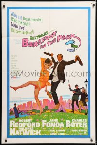 7b122 BAREFOOT IN THE PARK 1sh 1967 McGinnis art of Robert Redford & Jane Fonda in Central Park!