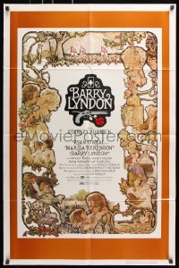 7b123 BARRY LYNDON 1sh 1975 Stanley Kubrick, Ryan O'Neal, great colorful art of cast by Gehm!
