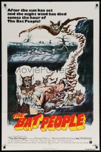 7b124 BAT PEOPLE revised 1sh 1974 AIP, Stewart Moss, cool horror artwork, It Lives By Night!
