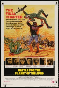 7b127 BATTLE FOR THE PLANET OF THE APES 1sh 1973 great sci-fi artwork of war between apes & humans!