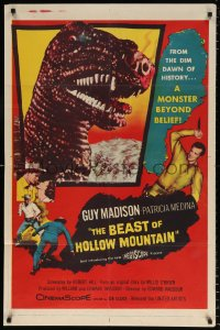 7b129 BEAST OF HOLLOW MOUNTAIN 1sh 1956 dinosaur monster beyond belief from the dawn of history