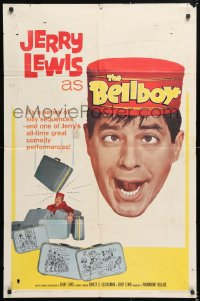 7b135 BELLBOY 1sh 1960 wacky artwork of hotel attendant Jerry Lewis carrying too much luggage!