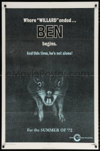 7b138 BEN teaser 1sh 1972 art of lots of rats, Willard 2, this time he's not alone!