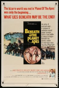 7b139 BENEATH THE PLANET OF THE APES 1sh 1970 sequel, what lies beneath may be the end!