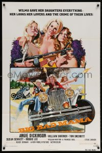 7b144 BIG BAD MAMA 1sh 1974 great John Solie art of sexy Angie Dickinson, female criminals w/guns!