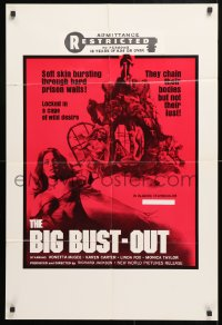 7b145 BIG BUST-OUT 23x34 1sh 1973 Vonetta McGee, locked in a cage of wild desire!