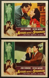 7c028 AFFAIR WITH A STRANGER 8 revised LCs 1953 Victor Mature, sexy Jean Simmons, cool border art!