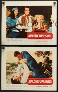 7c040 APACHE UPRISING 8 LCs 1966 Rory Calhoun, art of cowboy fighting with Native American!