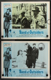 7c045 BAND OF OUTSIDERS 8 LCs 1966 Jean-Luc Godard's Bande a Part, Anna Karina, Claude Brasseur