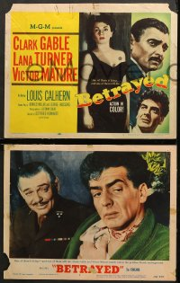 7c049 BETRAYED 8 LCs 1954 Clark Gable, Victor Mature, Lana Turner, Louis Calhern, WWII