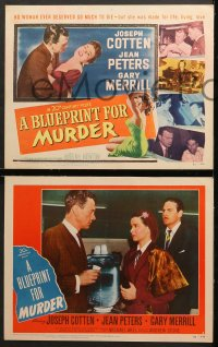 7c056 BLUEPRINT FOR MURDER 8 LCs 1953 sexy bad girl Jean Peters, Joseph Cotten, Gary Merrill!