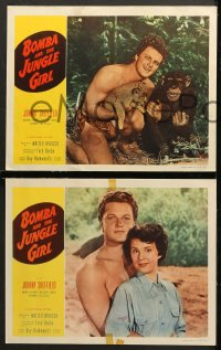 7c057 BOMBA & THE JUNGLE GIRL 8 LCs 1953 great close up of native woman Suzette Harbin with knife!