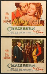 7c073 CARIBBEAN 8 LCs 1952 great images of barechested John Payne & sexy Arlene Dahl!