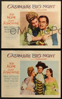 7c075 CASANOVA'S BIG NIGHT 8 LCs 1954 great images of Bob Hope & sexy Joan Fontaine, Basil Rathbone!