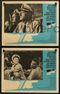 7c162 IN HARM'S WAY 8 LCs 1965 John Wayne, Kirk Douglas, Otto Preminger, great Saul Bass border art!