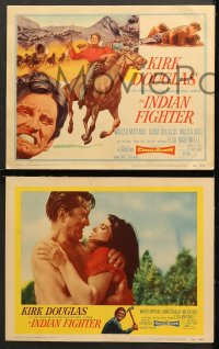 7c163 INDIAN FIGHTER 8 LCs 1955 Kirk Douglas, Elsa Martinelli, Lon Chaney Jr. w/back turned in one!