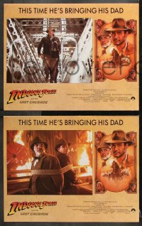 7c164 INDIANA JONES & THE LAST CRUSADE 8 LCs 1989 cool images of Harrison Ford & Sean Connery!