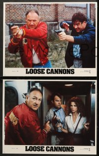 7c182 LOOSE CANNONS 8 LCs 1990 wacky images of Gene Hackman & Dan Aykroyd w/guns, Nancy Travis!