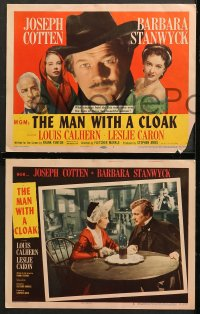 7c190 MAN WITH A CLOAK 8 LCs 1951 gorgeous Barbara Stanwyck, Joseph Cotten & pretty Leslie Caron!