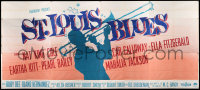 7d019 ST. LOUIS BLUES 24sh 1958 Nat King Cole, Kitt, full-length silhouette playing trombone, rare!
