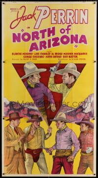 7d026 NORTH OF ARIZONA 3sh 1935 stone litho of cowboy Jack Perrin catching bad guys!