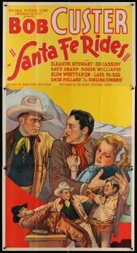 7d027 SANTA FE RIDES 3sh 1937 art of cowboy Bob Custer rescuing Eleanor Stewart from bad guys!