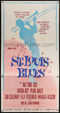 7d028 ST. LOUIS BLUES 3sh 1958 Nat King Cole, the life & music of W.C. Handy, cool silhouette art!