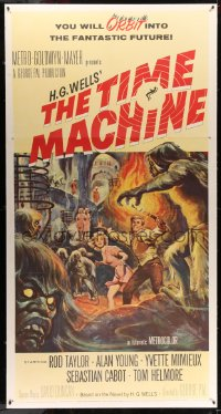 7d029 TIME MACHINE 3sh 1960 H.G. Wells, George Pal, great Reynold Brown sci-fi artwork!