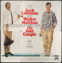 7d023 ODD COUPLE 6sh 1968 Robert McGinnis art of best friends Walter Matthau & Jack Lemmon!