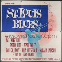 7d024 ST. LOUIS BLUES 6sh 1958 Nat King Cole, the life & music of W.C. Handy, ultra-rare!
