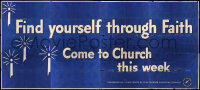 7d012 FIND YOURSELF THROUGH FAITH billboard 1950s Come to Church This Week, cool religious art!